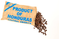 Honduran coffee beans spilling from bag